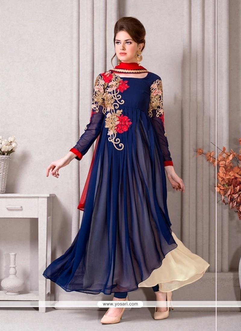 Amusing Georgette Resham Work Designer Suit