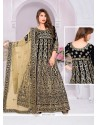Invigorating Banglori Silk Black Designer Suit