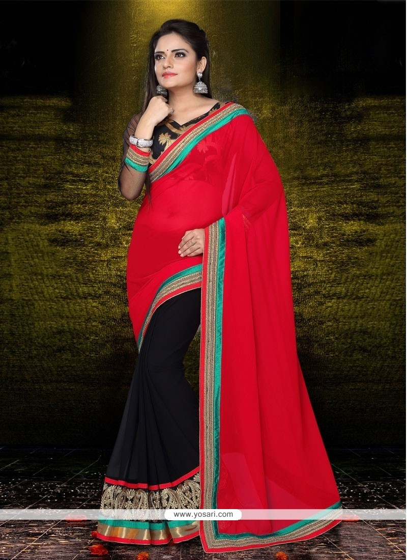 Latest Red And Black Georgette Designer Saree