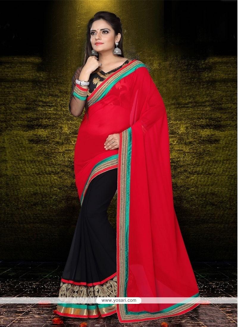 Latest Red And Black Georgette Designer Saree