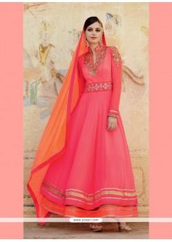 Impressive Resham Work Pink Georgette Designer Suit