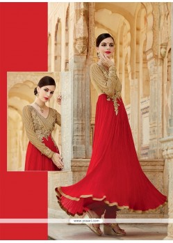 Hypnotizing Red Resham Work Designer Suit