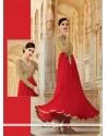 Hypnotizing Red Resham Work Designer Suit