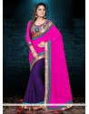 Asthetic Pink And Purple Jacquard Designer Saree