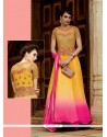 Resplendent Hot Pink And Yellow Embroidered Work Faux Chiffon Designer Suit
