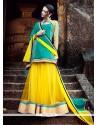 Beautiful Yellow Embroidered Work Faux Chiffon A Line Lehenga Choli