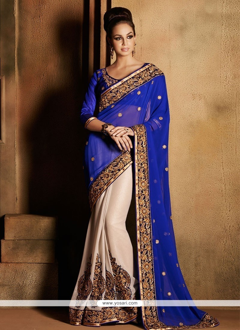 Navy Blue And Cream Georgette Zari Designer Saree