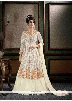 Opulent Resham Work Off White A Line Lehenga Choli