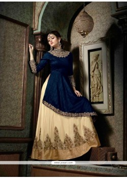 Striking Silk Navy Blue A Line Lehenga Choli