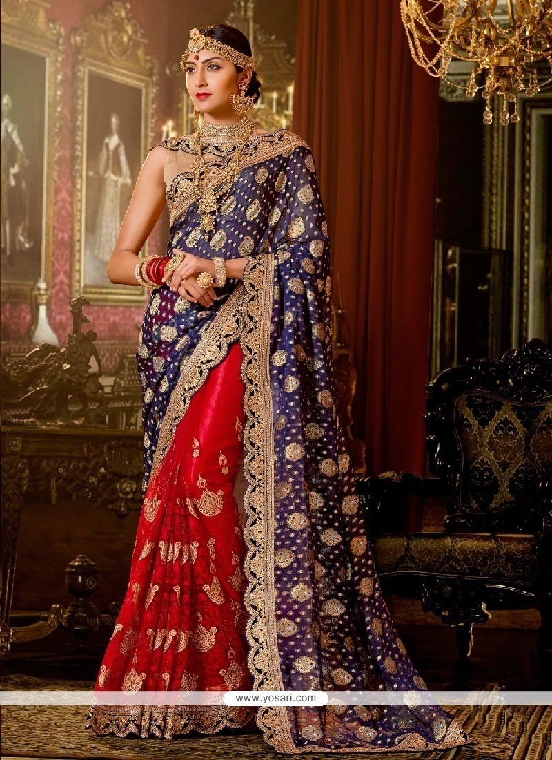 Outstanding Embroidered Work Georgette Classic Designer Saree