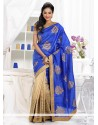 Luxurious Blue And Beige Shaded Matka Silk Saree