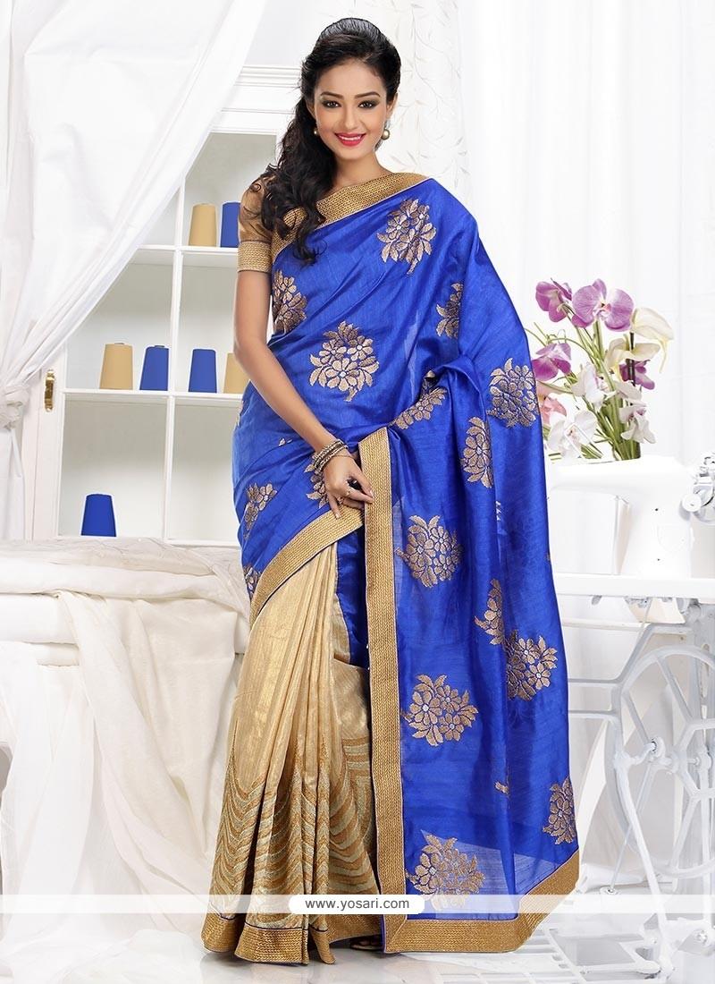 Luxurious Blue And Beige Shaded Matka Silk Saree