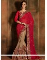 Maroon And Brown Embroidery Georgette Wedding Saree