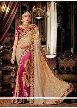 Cute Beige And Magenta Patch Border Work Classic Designer Saree