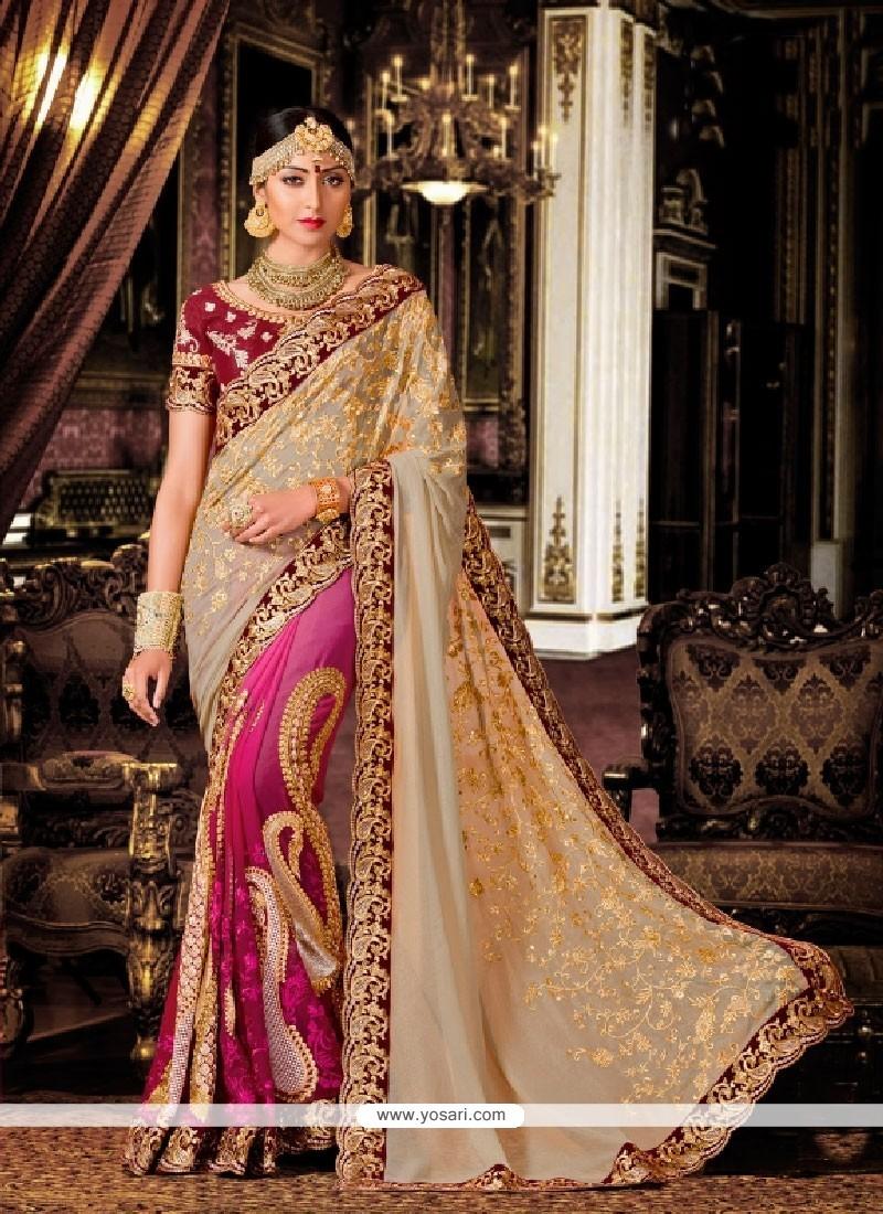 Cute Beige And Magenta Patch Border Work Classic Designer Saree