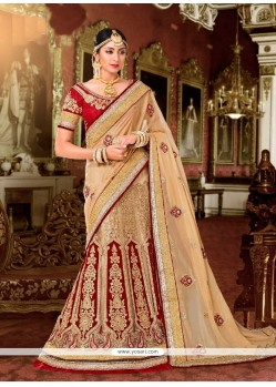 Ruritanian Beige Patch Border Work Georgette Lehenga Saree