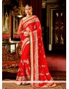 Gleaming Red Patch Border Work Classic Designer Saree