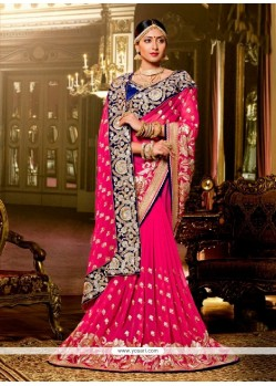 Sightly Georgette Hot Pink Classic Designer Saree