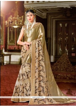 Mesmeric Georgette Beige Embroidered Work Classic Designer Saree