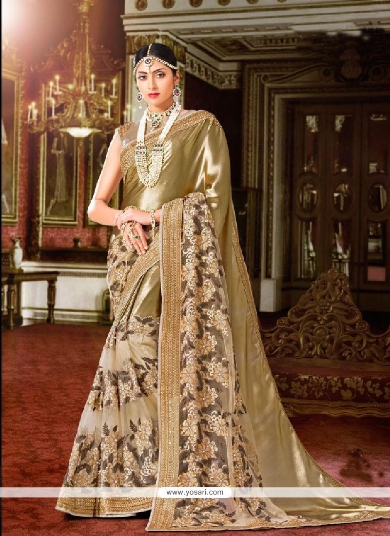 Mesmeric Georgette Beige Embroidered Work Classic Designer Saree