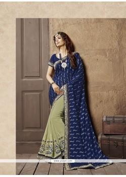 Elite Patch Border Work Blue Designer Half N Half Saree