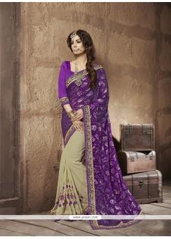Lustrous Georgette Purple Designer Half N Half Saree