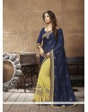 Jazzy Patch Border Work Navy Blue Designer Half N Half Saree