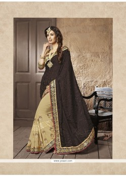 Dilettante Brasso Patch Border Work Designer Half N Half Saree