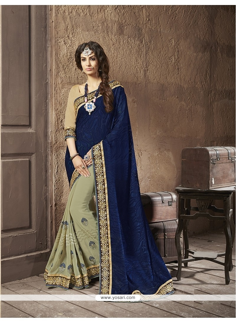 Epitome Embroidered Work Navy Blue Designer Half N Half Saree