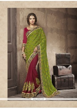 Epitome Embroidered Work Green Designer Half N Half Saree