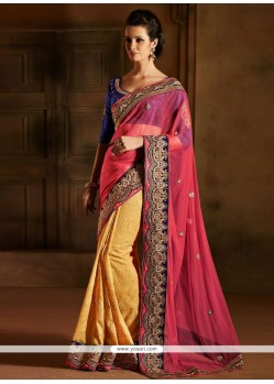 Gorgeous Pink And Yellow Georgette Zari Designer Saree