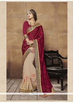 Precious Brasso Patch Border Work Designer Half N Half Saree