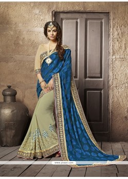 Intriguing Georgette Embroidered Work Designer Half N Half Saree