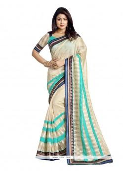 Exceeding Banarasi Silk Beige Embroidered Work Designer Saree