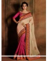 Hot Pink And Cream Georgette Designer Saree