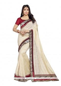 Delightsome Beige Banarasi Silk Designer Saree