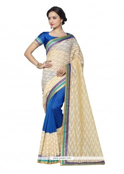 Prime Banarasi Silk Blue Embroidered Work Designer Saree
