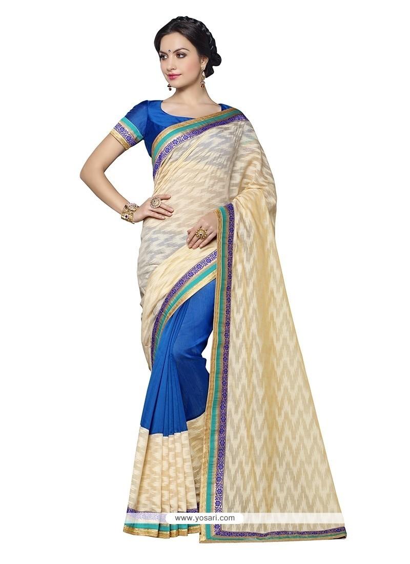 Prime Banarasi Silk Blue Embroidered Work Designer Saree