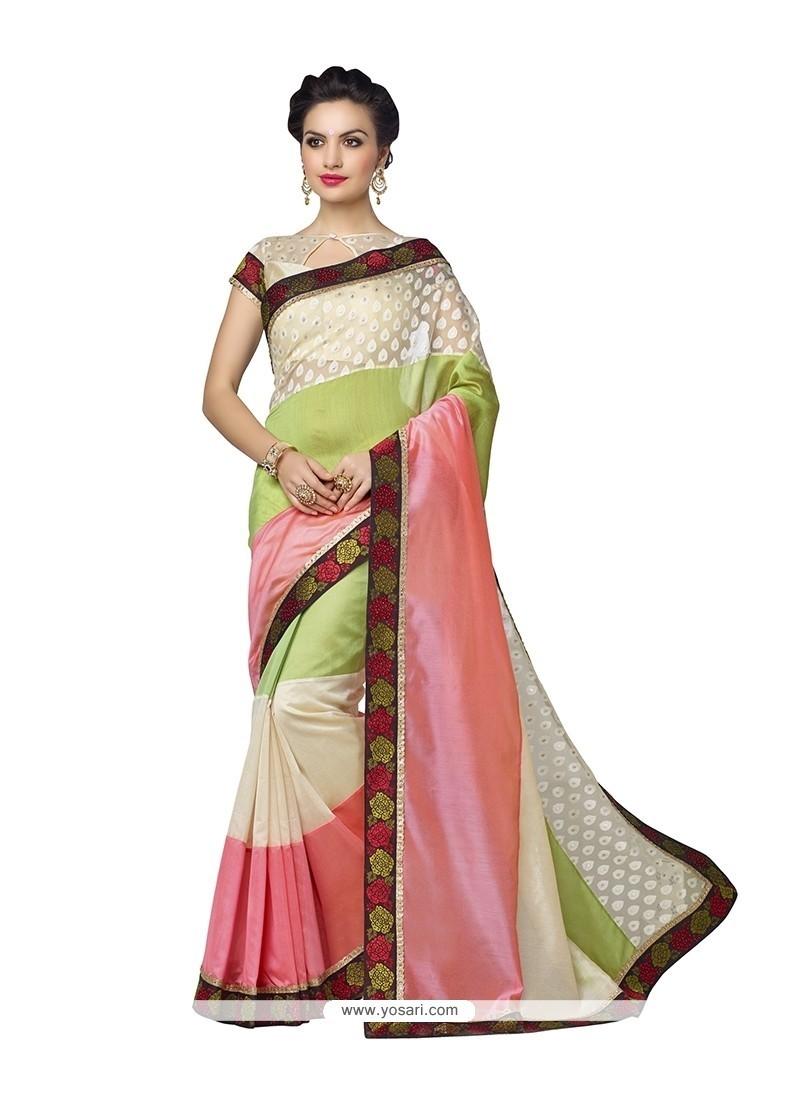 Vivid Banarasi Silk Green And Pink Designer Saree