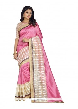 Mystical Embroidered Work Pink Designer Saree