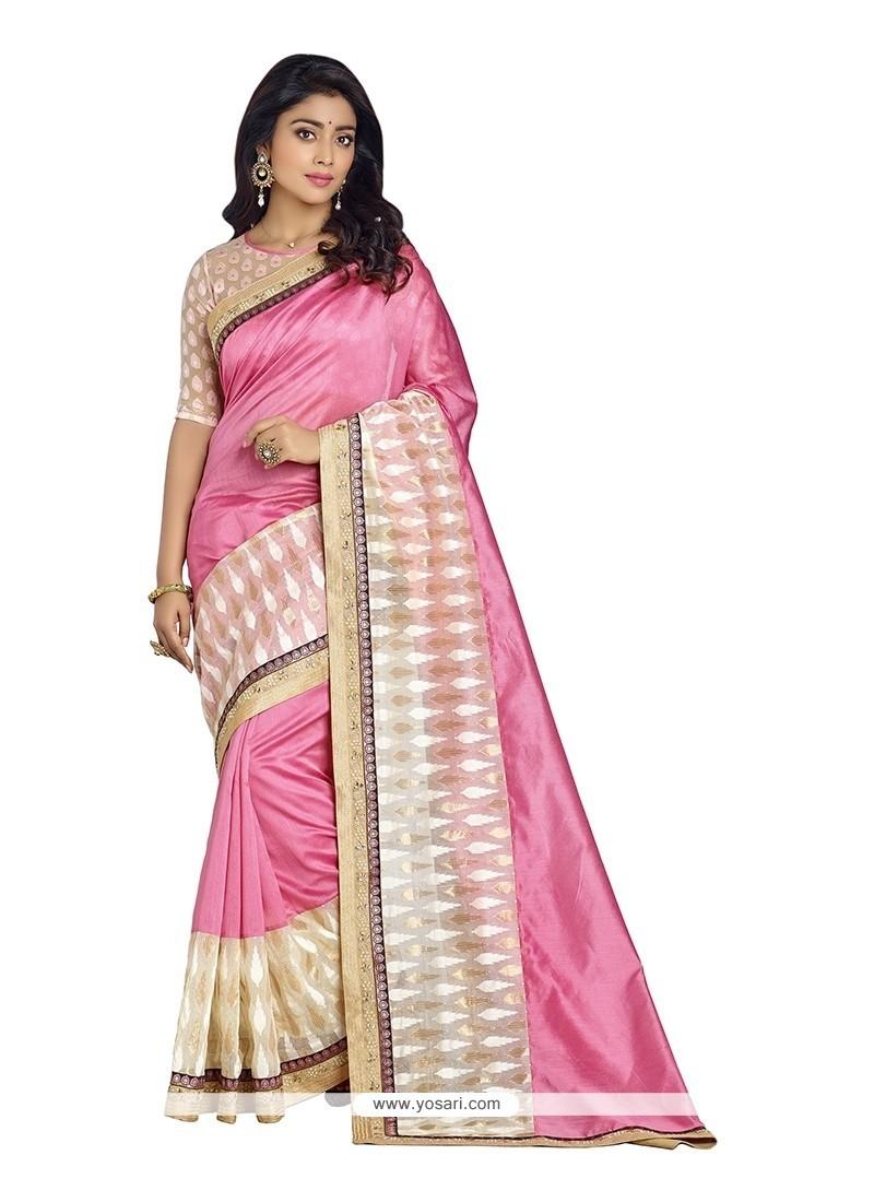 Mystical Embroidered Work Pink Designer Saree