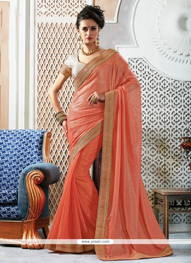 Pleasing Faux Chiffon Embroidered Work Designer Saree