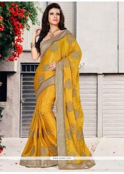 Preferable Chiffon Satin Patch Border Work Designer Saree