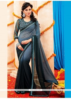 Black And Grey Shaded Georgette Saree