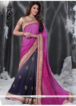 Grey And Black Shaded Jacquard Designer Saree