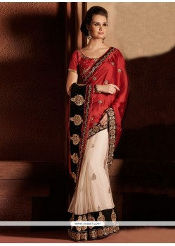 Off White And Maroon Satin Zari Designer Saree