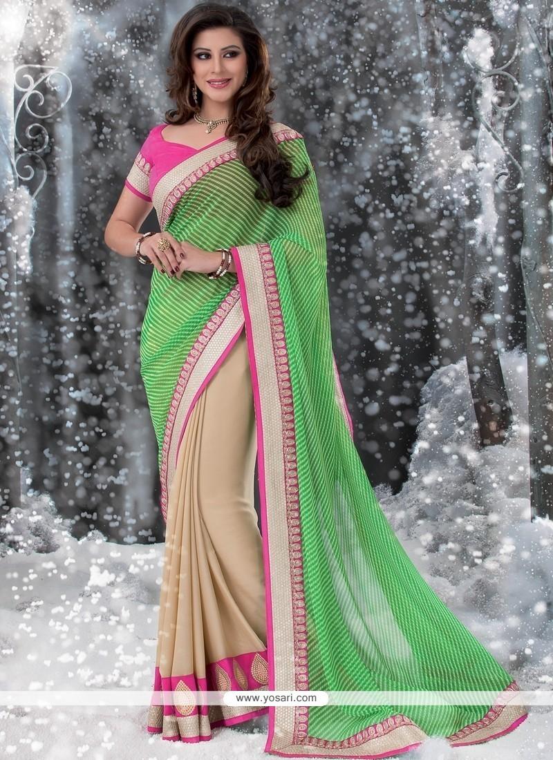 Jaaz Green And Cream Georgette Designer Saree