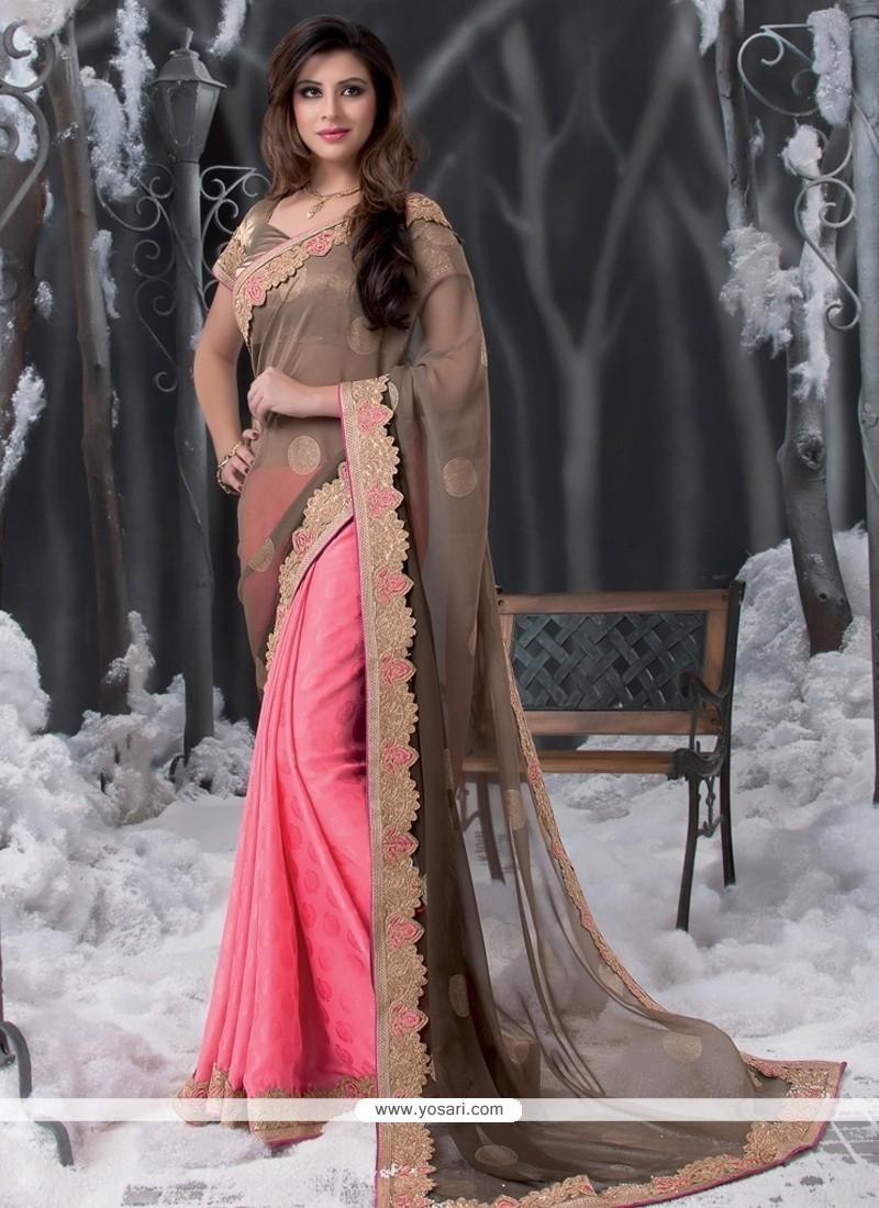 Brown And Pink Georgette Designer Saree