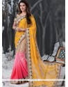 Mustard And Pink Jacquard Designer Saree