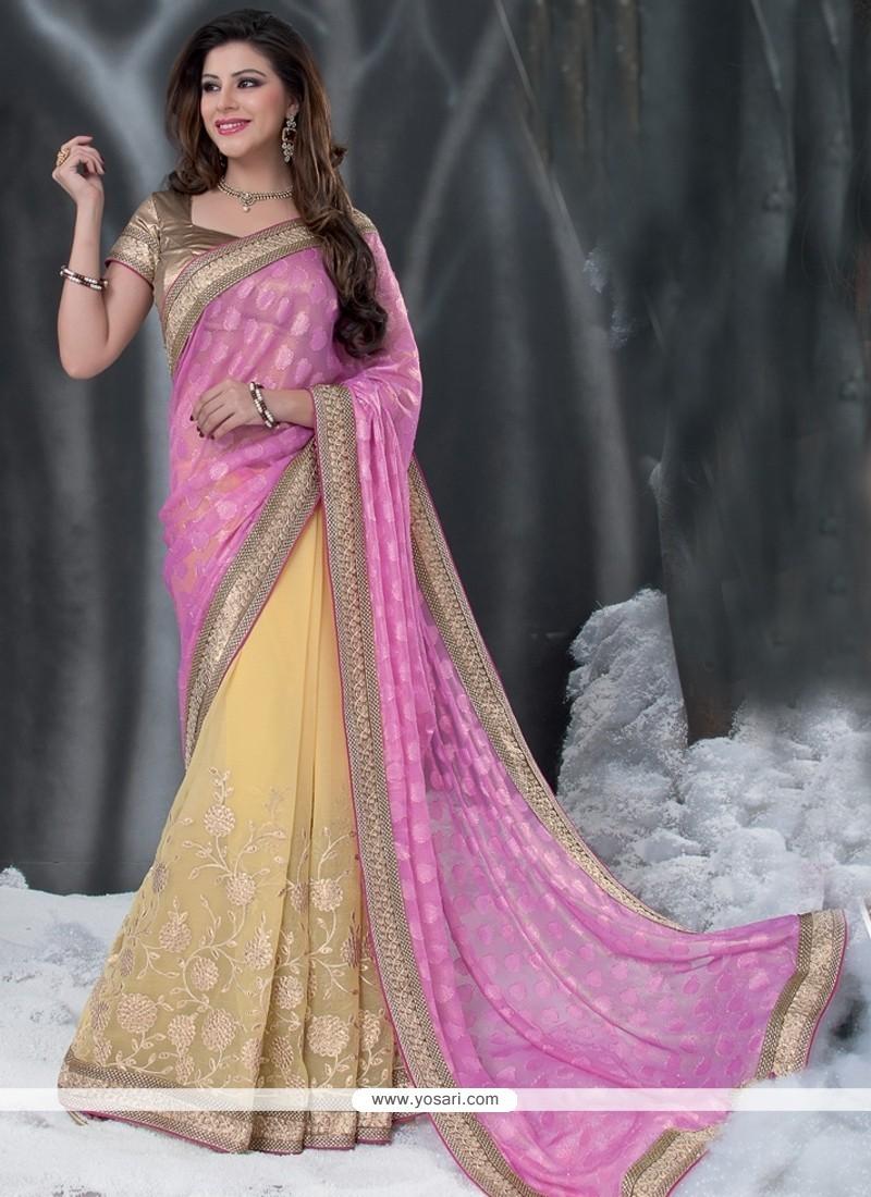 Pink And Cream Chiffon Half And Half Saree